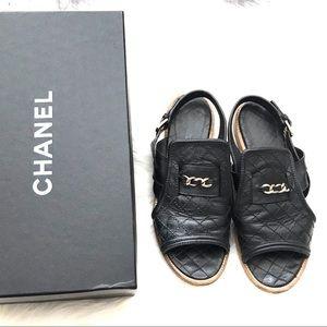 {CHANEL} Black Chain Logo Flat Sandals 39.5EUR